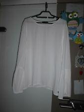 Weiße Bluse von Please, Trompetenärmel, Gr. 38