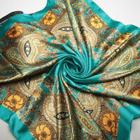 "Fashion Women Green Paisley Silk-Satin Scarf Square Scarf Shawl Hijab 35""*35"""