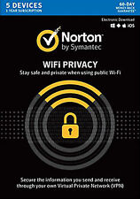 Norton WiFi Privacy 1.0 VPN Online Security 5 Device PCs Mac 1 year Retail Key