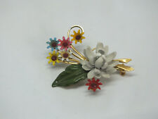 Beautiful Collectible Brooch Pin Gold Tone Flower Enamel Red Rhinestones 2x 1.25