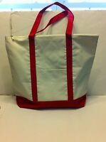 LARGE zippered CANVAS beach cotton natural tote bag pocket RED trim NEW