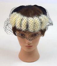 "Vintage 60s Retro Black White Mink Fur Trim Mesh Veil Pillbox Hat 21.5"" Headband"