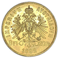 AUSTRIA coin 8 Florins 20 Francs 1892 UNC Uncirculated