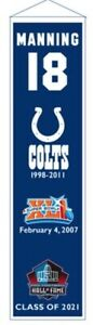 PEYTON MANNING INDIANAPOLIS COLTS HALL OF FAME RETIREMENT HERITAGE BANNER #18