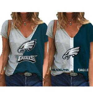 Philadelphia Eagles Women's Short Sleeve T Shirt Casual Loose V-Neck Blouse Tops