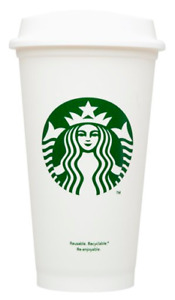 2PACK Starbucks White Plastic Reusable Travel Mug/Cup/Tumbler 16Oz 473ml