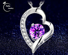 Purple Heart 925 Sterling silver Zircon Pendant Necklace Love Gifts Jewelly UK