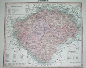 1850 RARE ORIGINAL MAP BOHEMIA CZECH PRAGUE PRAHA LIBEREC USTI PLZEN HRADEC