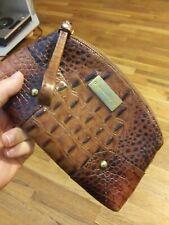 Brahmin Croc Clutch Wallet Handbag Crocodile Brown