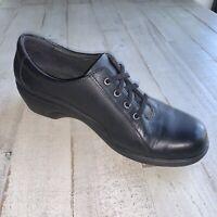 Clarks Clogs Slip Resistant Comfort Shoes Work Oxfords Mules Black Leather Sz8