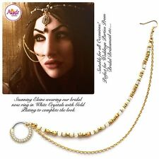 gold Indian Bollywood Ethnic nath Nose Ring Wedding Bridal Traditional Jewelry