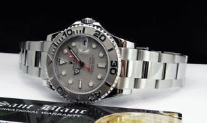 ROLEX - REHAUT Midsize Platinum & Stainless Yachmaster 168622 - SANT BLANC