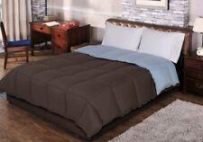 Full/Queen Chocolate & Sky Blue All Season Reversible Down Alternative Comforter