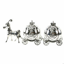 SILVER PLATED FIRST TOOTH & CURL SET CINDERELLA COACHES CHRISTENING GIFTS