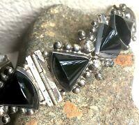 VTG Mexico Black Onyx Sterling Taxco Style Bracelet Pre Eagle ACE Guadalajara