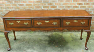 """72"""" LONG QUEEN ANNE BANDED MAHOGANY KINDEL KENT SIDEBOARD 3 DRAWER CONSOLE TABLE"""