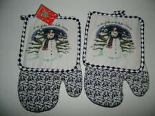 New listing Snowman Oven Mitts Pot Holders Winter Xmas Forest Corn Cob Pipe Kitchen Set of 4