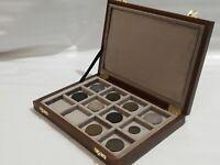 Cofanetto astuccio in legno per monete 12 caselle 50x50 mm in velluto Italiano