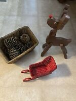 Vintage Christmas Lot Stand-Up Wood Rudolph Wood/Rope Basket W/Pine Cones Slei