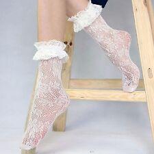 Women Girls Ankle Fancy Retro Lace Ruffle frilly Princess School Short Socks