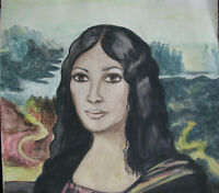 "1960s FILIPINA MONA LISA 12x18"" Student Watercolor Painting PAROHINOG vintage"