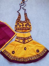 Yellow And Maroon Chaniya Choli For 6-9month Old