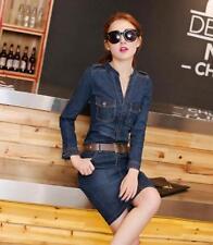 Nuevo Vestido para Mujeres Primavera Denim Jean ajustada de manga larga escote en V Nuevo Moda Corea
