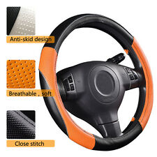 Universal Steering wheel cover PU Leather Orange Black Anti-slip  38cm 37cm 39