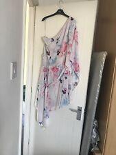 Lipsy Dress Size 16 One Shoulder Pink Blue Tie Waist Bnwt