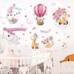 Sweet Animals Rabbit Hot Air Balloon Wall Stickers Living Room Mural Vinyl Decal
