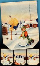 Unica Bella Vecchio Adventstüte Nicholas Pacchetti di Natale 1947> Rarità