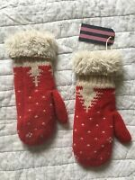 JACK WILLS 'Exford' Red Mittens, Size One (S-M), BNWT £24.50