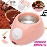 Pink Chocolate Melting Pot Electric Fondue Melter Machine Set DIY Kitchen Tool