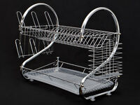 2-tiers Chrome Kitchen Dish Cup Drying Rack Drainer Dryer Tray Cutlery Holder