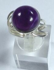 Amethyst Cabochon solid Sterling Silver ring, UK size N new, Round. Twist Design