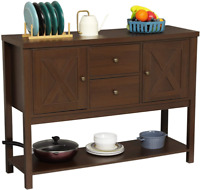 Entryway Console Sofa Table Buffet Sideboard Storage Cabinet Two Drawers Brown