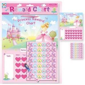 Childrens Girls Pink Princess Reward Chart Dry Wipe Pen + Stickers Toys