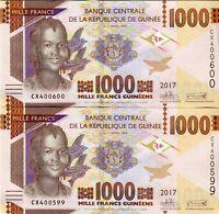 Guinea  2*1000 Francs / Guinea 2*1000 Franken 2017  (2 Aufeinanderfolgenden UNC)