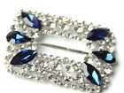 WOMENS SILVER RECTANGLE SCARF RING, SLIDE W/CLEAR  SAPPHIRE COLORED RHINESTONES