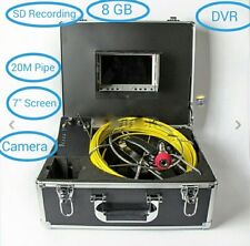 """20M Sewer Waterproof Camera 7"""" LCD Drain Pipe Pipeline Inspection System DVR 8GB"""