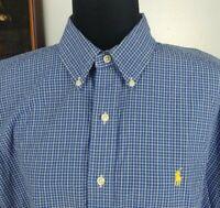 Ralph Lauren Men's Blue Plaid Short Sleeve Button Down Dress Shirt Size Large