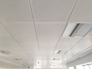 60 CM'S SQUARE WHITE METAL SAS CEILING TILES WITH REAR THERMAL PADS
