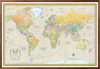 32x50 Rand McNally Style World Classic Series Black Framed Wall Map by RMC