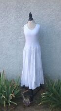 The Pyramid Collection White Prarie Gypsy Peasant Long Ruched Pleat Maxi Dress M