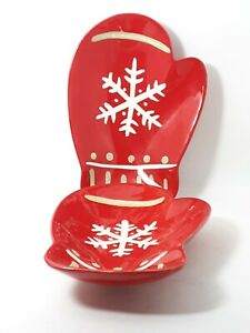 Hallmark Mitten Serving Dishes Red White Christmas Winter Holiday