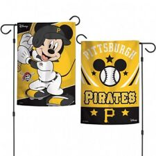 "Pittsburgh Pirates 2-Sided Mickey Mouse Garden Flag Licensed MLB 12.5"" x 18"""