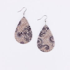 Print Paisley Floral Feathers Teardrop Leather Earrings for Women Water Drops