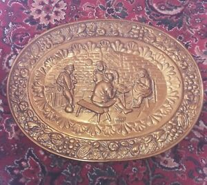Large Oval Vintage Brass Wall Plaque / Charger / Plate.  UK RURAL SELLER(cupsd)