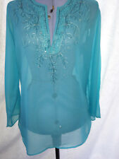 NEW - Atmosphere - Green / Blue Embroidered Long Top, Blouse / Shirt - Size 12