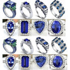 Gorgeous Unisex 925 Sterling Silver Blue Sapphire Rings Wedding Crystal Jewelry